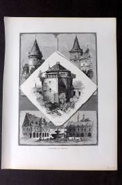 Picturesque Europe 1870s Antique Print. Climpses of Goslar, Germany